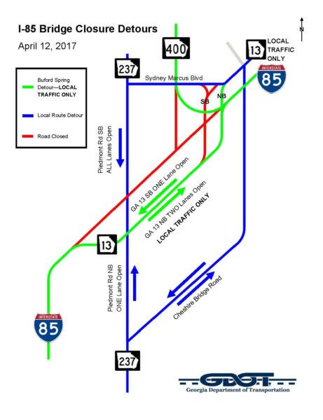 85CLOSED-Detour Map
